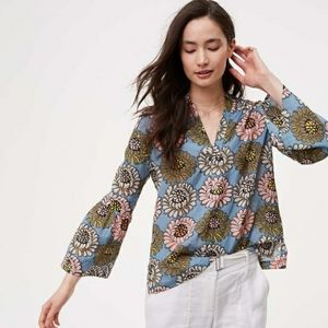 Loft softened blue marigold floral bellsleeved top